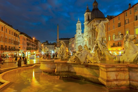view of Piazza Navona in Rome at night, Italy