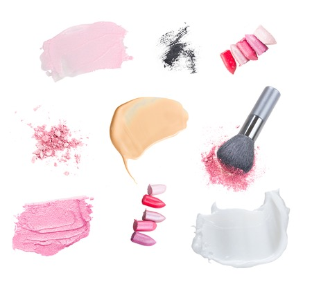 smears: set of make up cosmetics and smears isolated on white background