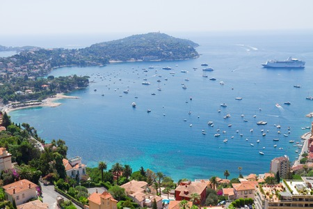 villefranche sur mer: landscape of riviera coast and turquiose water of cote dAzur at sunny summer day, France