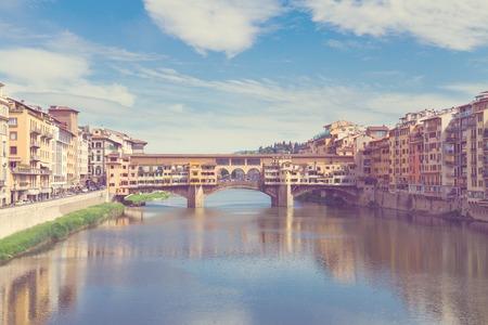 ponte: Ponte Santa Trinita  ans Ponte Veccio bridges over the Arno River, Florence, Italy, retro toned