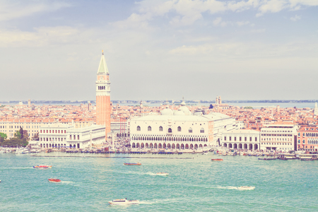 st mark's square: famous San Marco square waterfront, Venice, Italy, retro toned