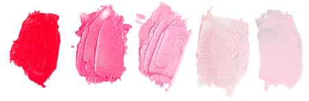 Set of lipsticks smears  lipstick isolated on white background Archivio Fotografico