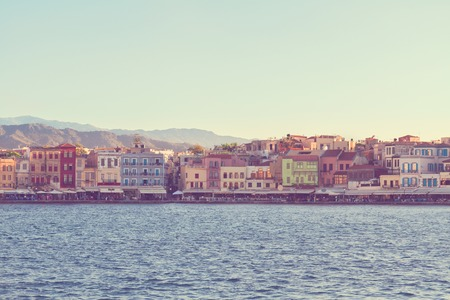 habour: famouse venetian habour of Chania  at sunny  summer day, Crete, Greece, retro toned
