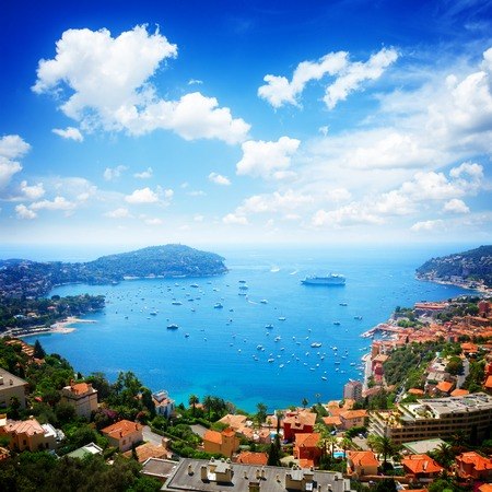 villefranche sur mer: lanscape of coast and turquiose water of cote dAzur, France, retro toned