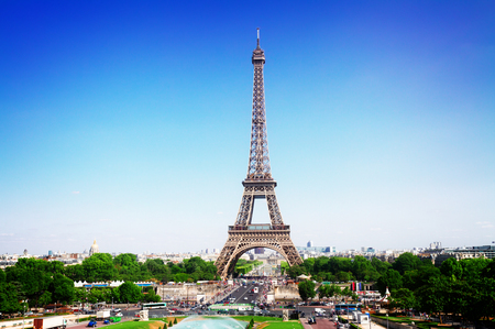 Eiffel Tower and Paris skyline in summer sunny day, France, retro toned