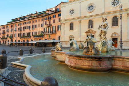 navona: famous Bernini fountain and  Piazza Navona in Rome, Italy