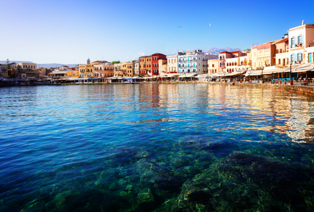 habour: clear turqiouse water of Chania habour at sunny day, Crete, Greece, toned