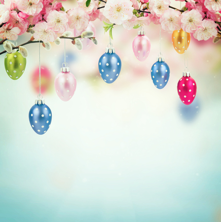 pink pussy: Colorful hanging easter eggs isolated on white background, retro toned