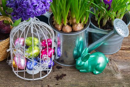 flowerpots: Easter in garden - eggs in birdcage and rabbit with flowerpots Stock Photo