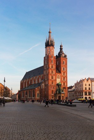 mary's: St. Marys Basilica at day in Krakow, Poland