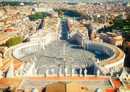 st  peter's basilica pope: Saint Peters Square in Vatican and aerial view of the city, Rome, Italy, retro toned