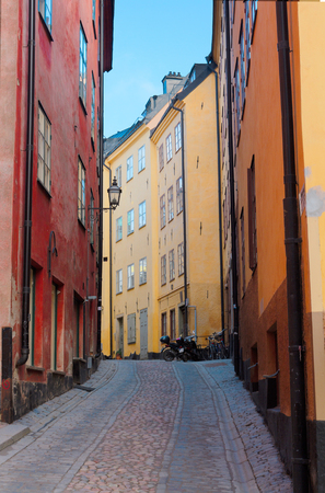 stan: old town Gamla Stan  street in Stockholm, Sweden