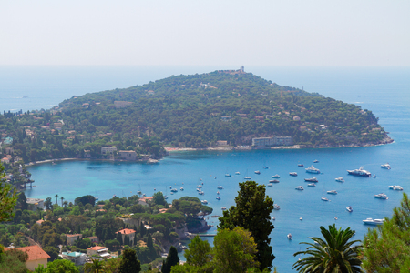 villefranche sur mer: Cap-ferrat and turquiose water of cote dAzur, French Riviera, France Stock Photo