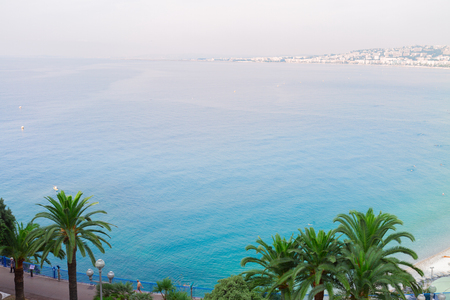 habour: habour of Nice and cote dAzur coast from above, France