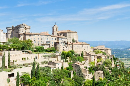 gordes: view of  Gordes, famouse old town fortress of Provence at summer day, France Stock Photo