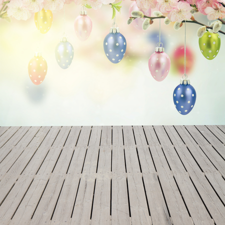 pink pussy: Colorful hanging easter eggs with cherry flowers and wooden empty planks
