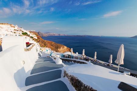 blue waters: steps and blue  waters of Aegan sea, beautiful details of Santorini island, Greece Stock Photo