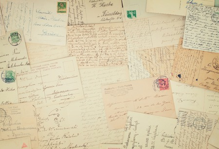 old letters: Set of handwritten antique letters old vintage background, retro toned