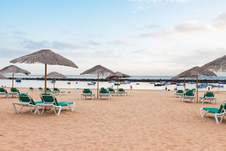 canarias: view of beach Las Teresitas with chairs at summer day, Tenerife island, Canarias Spain Stock Photo