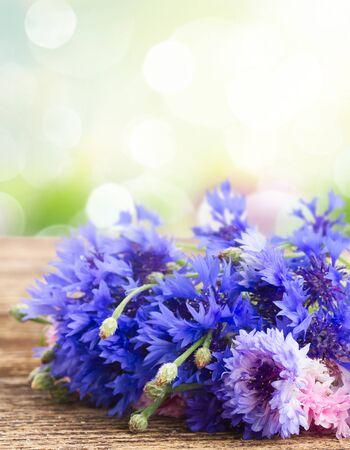 garden cornflowers: Blue and pink cornflowers on wooden table over garden bokeh background Stock Photo
