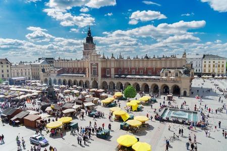 rynek: Market square Rynek Glowny with Cloth hall   in Krakow, Poland