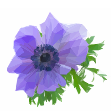anemone: Low poly illustration one blue anemone flower