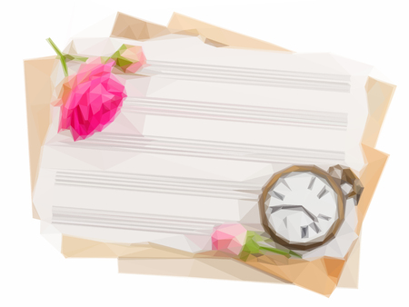 antique clock: Low poly illustration bunch of old note papers with antique clock and rose