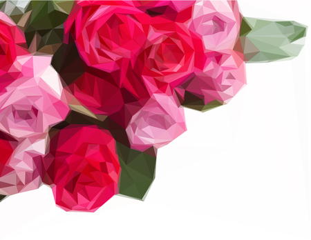flowers close up: Low poly illustration border of pink rose flowers close up