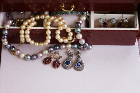 pendent: Vintage Jewellery in treasure box close up