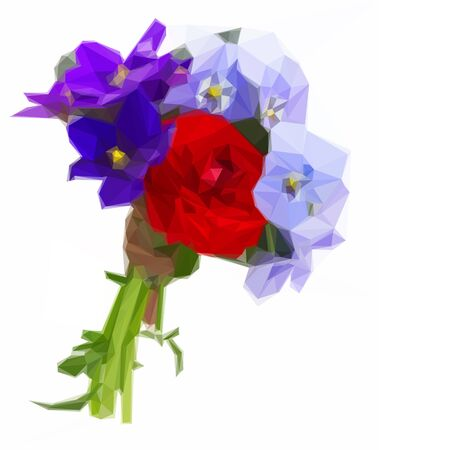 pansies: Low poly illustration Posy of violets, pansies and ranunculus isolated on white background Illustration