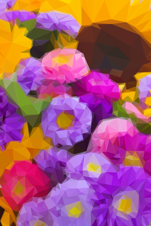 autumn flowers: Low poly illustration background of beautiful colorful multicolored autumn flowers