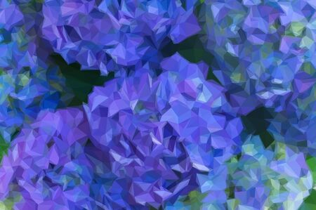 macro flowers: Low poly illustration blue hortensia flowers close up macro background