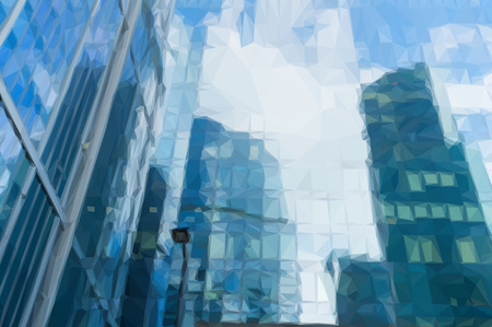 low glass: Low poly illustration modern skyscrapers of steel and glass reflected in buildings facade