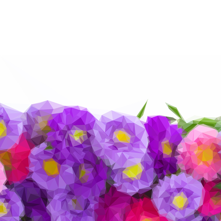 aster: Low poly illustration aster flowers border isolated on white background