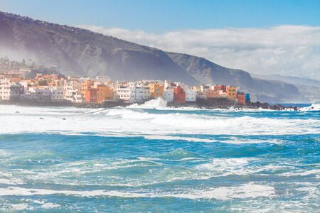 Atlantic ocean and Puerto de la Cruz de Tenerife, Spain