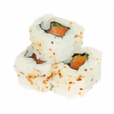 served: Low poly illustration japaneese sushi roll dish served isoltaed on white background