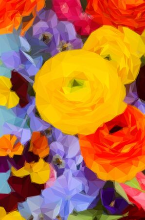 pansies: Low poly illustration Fresh Flowers Background - ranunculus, pansies and hortensia