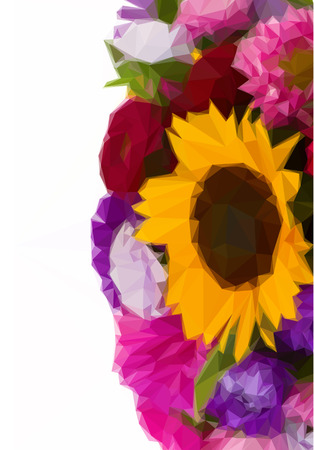 autumn flowers: Low poly illustration mixed autumn flowers background