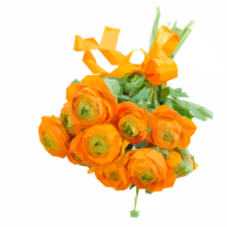buttercup  decorative: Low poly illustration orange ranunculus flowers with ribbon on white background