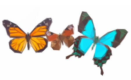 swallowtail: Low poly illustration Peacock, monarch and Sea Green Swallowtail butterflies Illustration