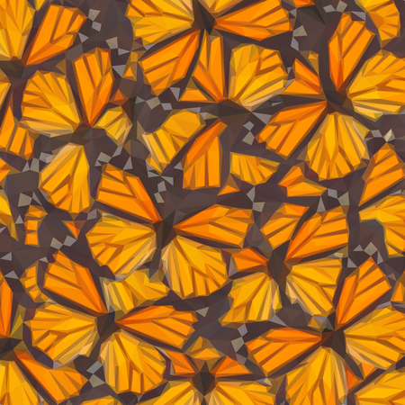 milkweed: Low poly illustration Orange monarch butterfly close up natural background
