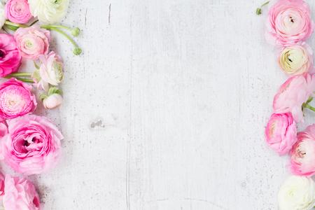 ピンクと白のラナンキュラスの花の白い木製の背景にフラット横たわっていたシーン