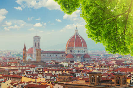 santa maria del fiore: cityline with cathedral church Santa Maria del Fiore at summer, Florence, Italy