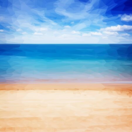 waves: Low poly illustration sandy beach shore with blue sea waters and cloudy sky, instagram retro toned