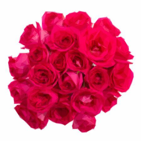 mauve: Low poly illustration round bouquet of mauve roses Illustration
