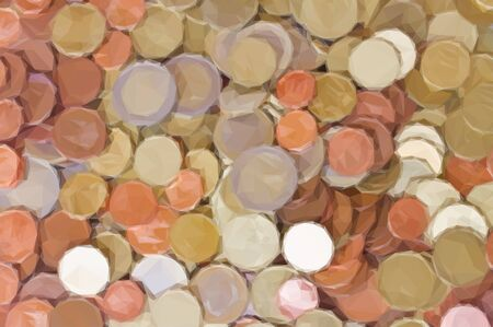 euro coins: Low poly illustration big pile of mixed euro coins background
