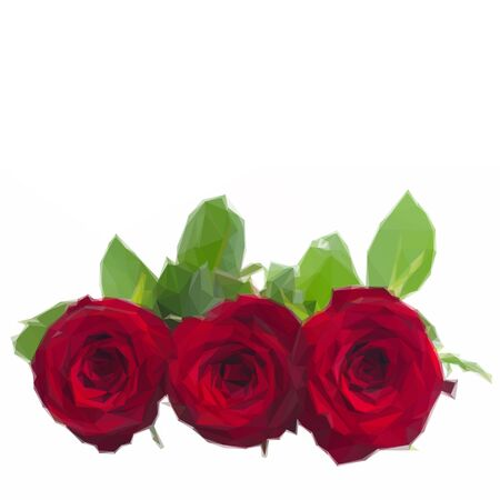 scarlet: Low poly illustration three scarlet red roses with leaves