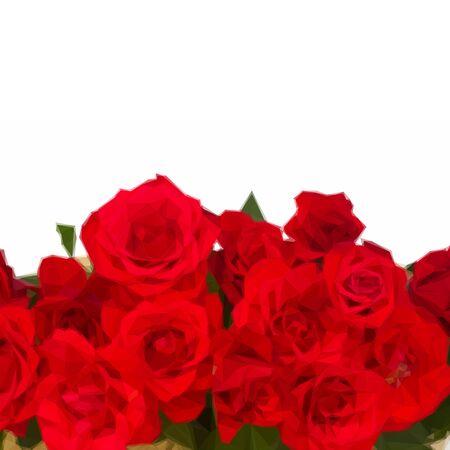 scarlet: Low poly illustration border of blooming scarlet roses