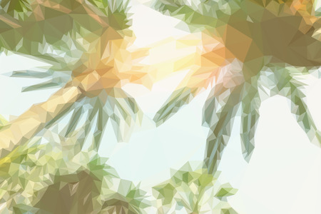 caribbean climate: Low poly illustration tropical palm trees and sunshine on sky background, retro toned