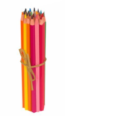 pensils: Low poly illustration stack of multicolored pensils Illustration